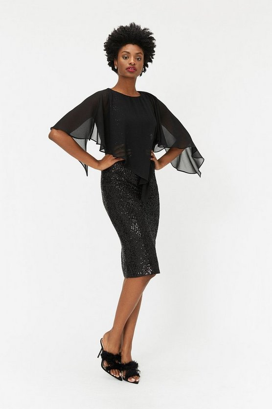 Black Sequin Overlayer Dress