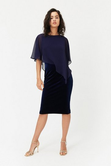 Womens Navy Caped Midi Dress