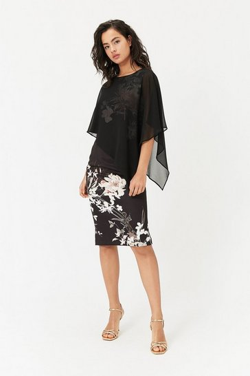Womens Black Caped Floral Dress