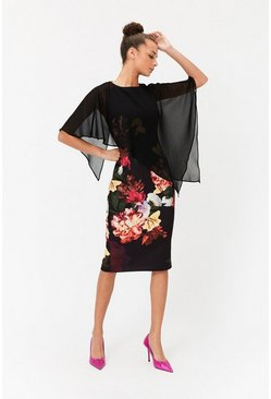 Multi Caped Floral Dress