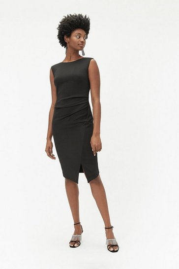 Womens Black Ruched Pencil Dress