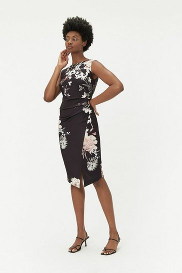 Black Ruched Scuba Dress