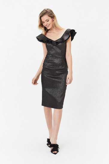 Black Sparkle Kora Ruffle Dress