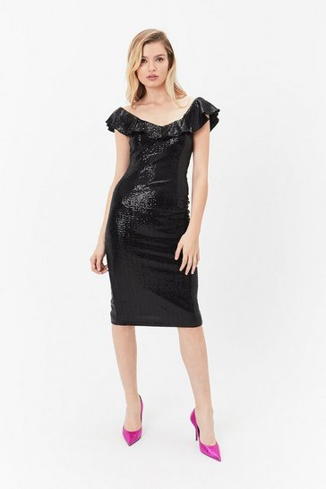 Black Kora Ruffle Dress
