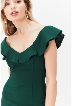Green Curve Kora Ruffle Dress