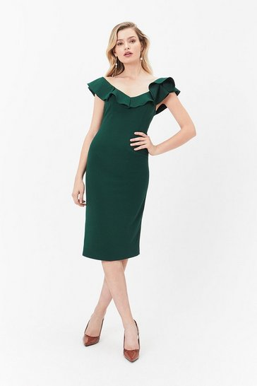 Green Kora Ruffle Dress