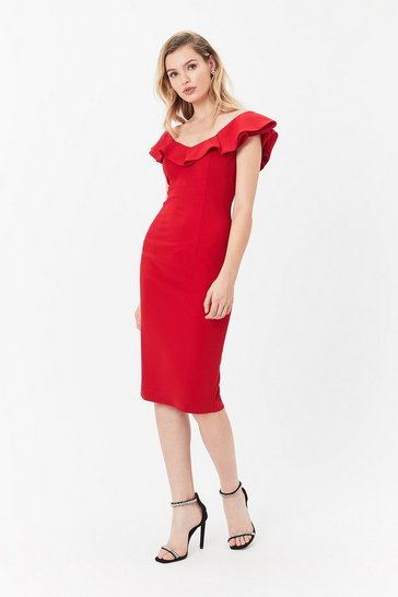 Red Kora Ruffle Dress