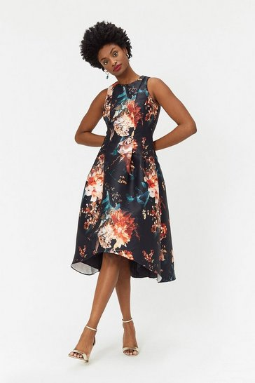 Multi Floral Twill Full Midi Dress