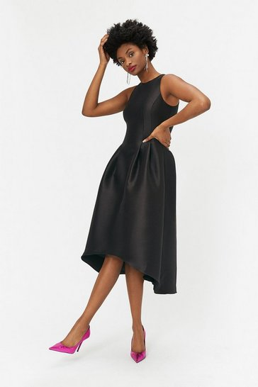 Womens Black Twill Full Midi Dress