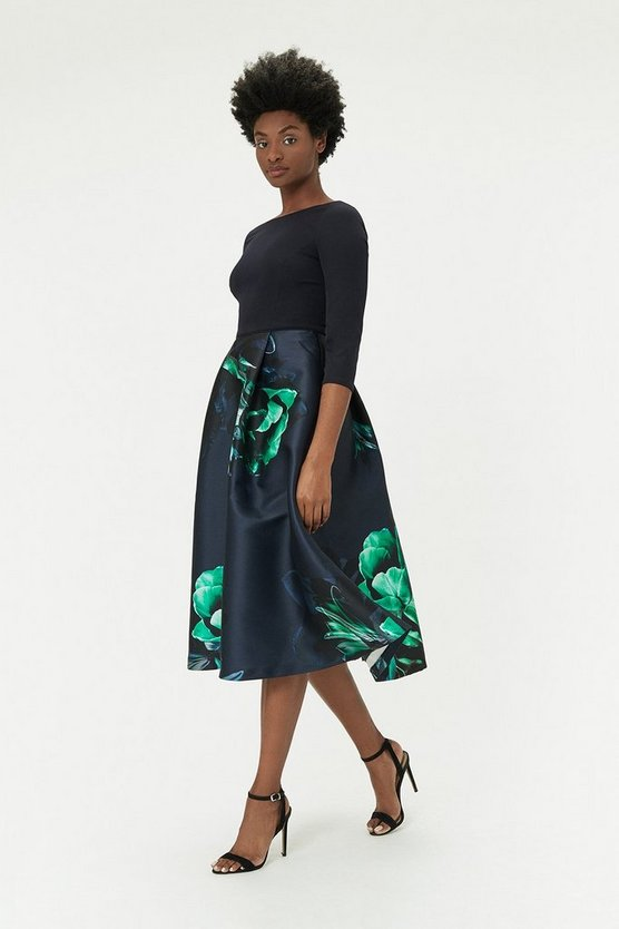 Multi Full Skirt Midi Dress