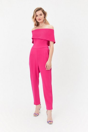 Purple Scuba Bardot Jumpsuit
