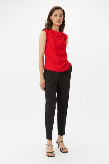 Red Cowl Sleeveless Top