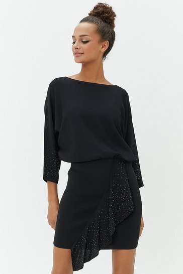 Womens Black Studded Batwing Dress