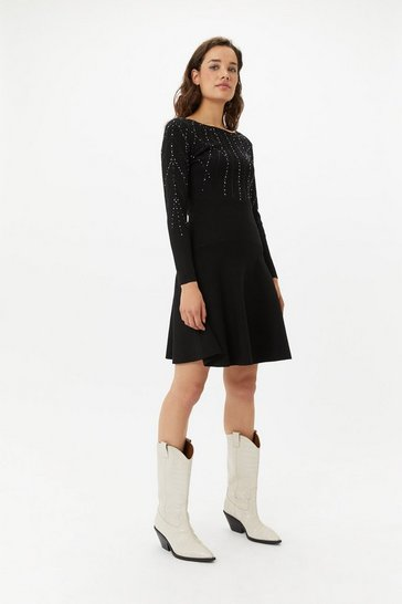 Womens Black Studded Knit Dress