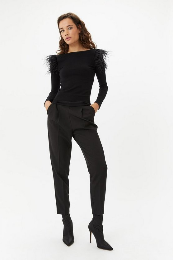 Black Feather Shoulder Jumper