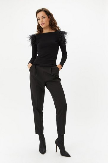 Womens Black Feather Shoulder Jumper