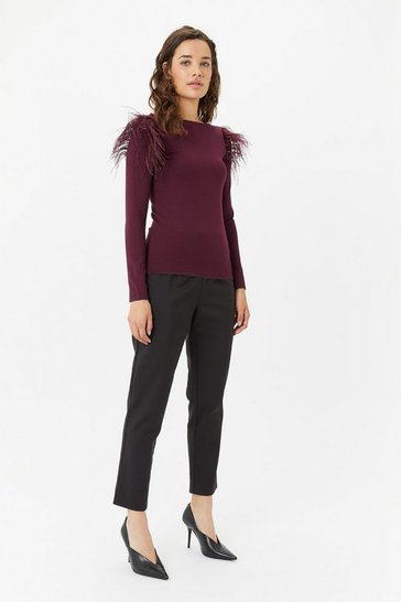 Womens Merlot Feather Shoulder Jumper