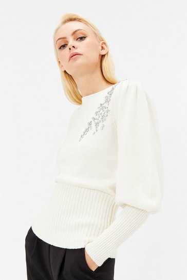 Womens Ivory Embellished Jumper