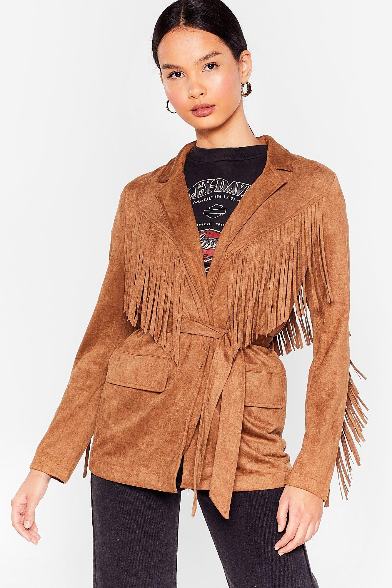 70s Jackets, Furs, Vests, Ponchos Womens Faux Suede Fringe Belted Jacket - Camel - S $20.00 AT vintagedancer.com