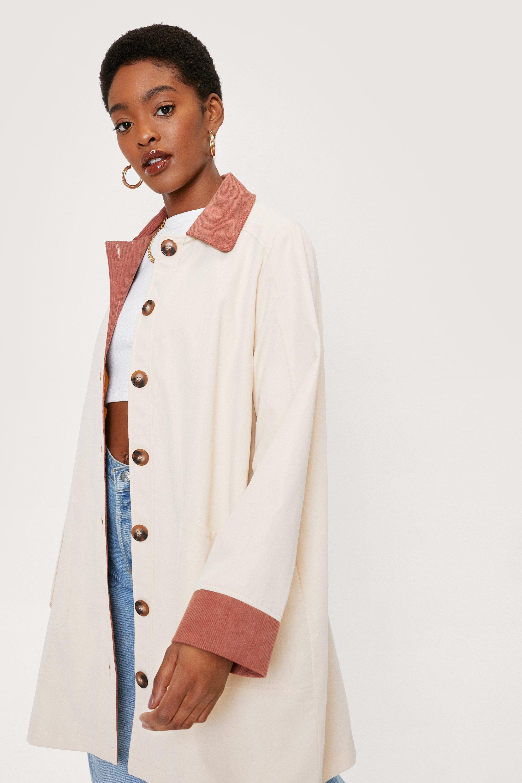70s Jackets, Furs, Vests, Ponchos Womens Corduroy Collar Button Down Longline Jacket - Beige - 10 $34.00 AT vintagedancer.com