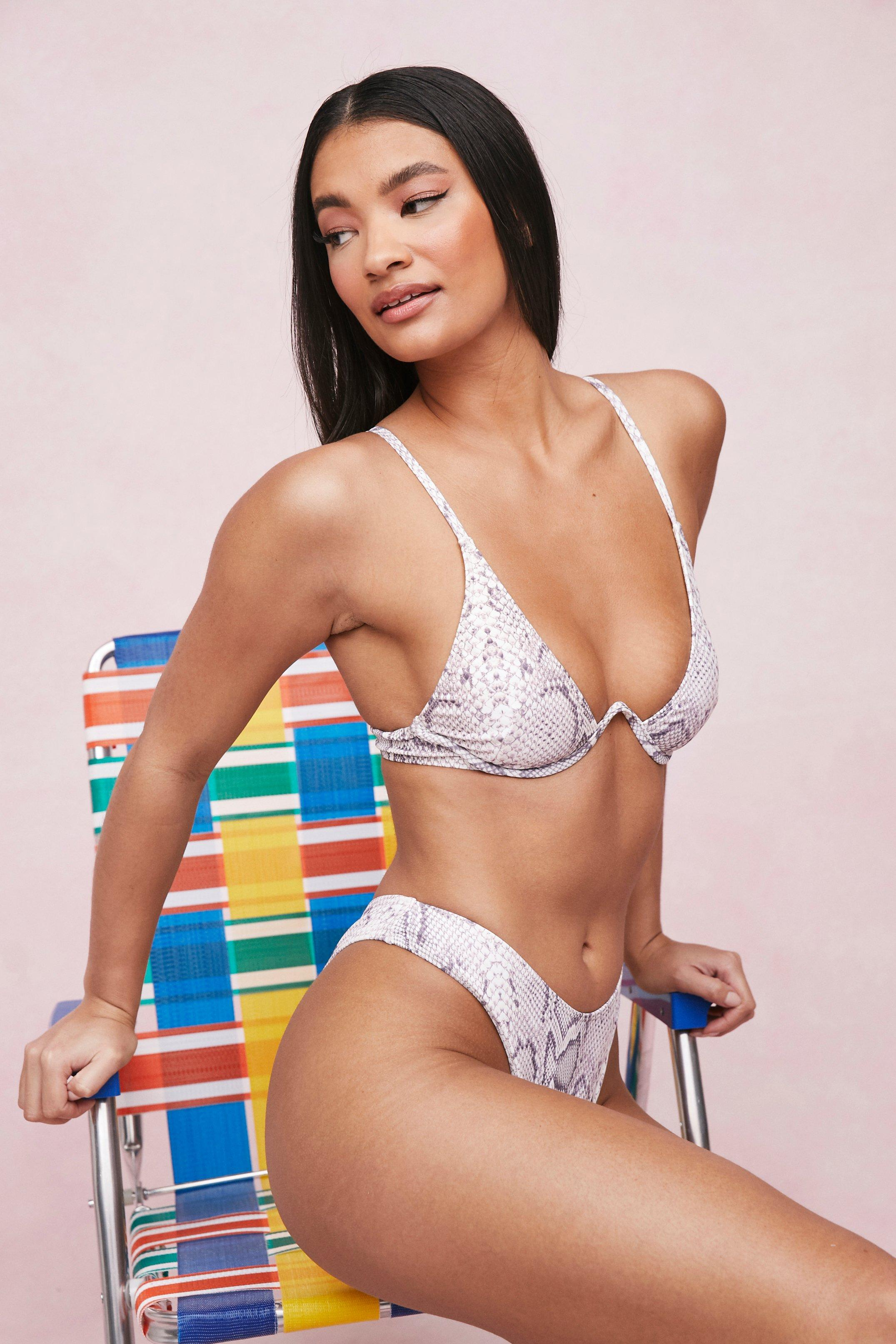 Bikini Haut De Bikini Bustier En V Et Bas Tanga À Imprimé Serpent - Beige - 36, Beige