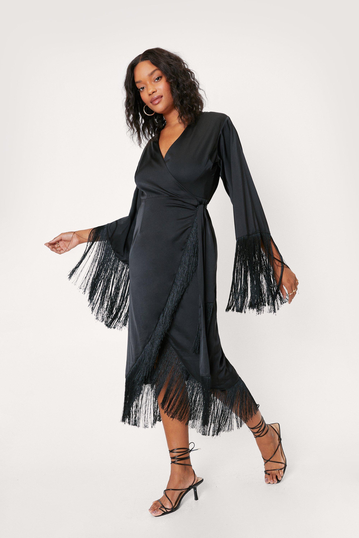 Plus Size Retro Dresses 50s, 60s ,70s, 80s, 90s Womens Plus Size Fringe Detail Wrap Bridal Dress - Black - 16 $40.80 AT vintagedancer.com