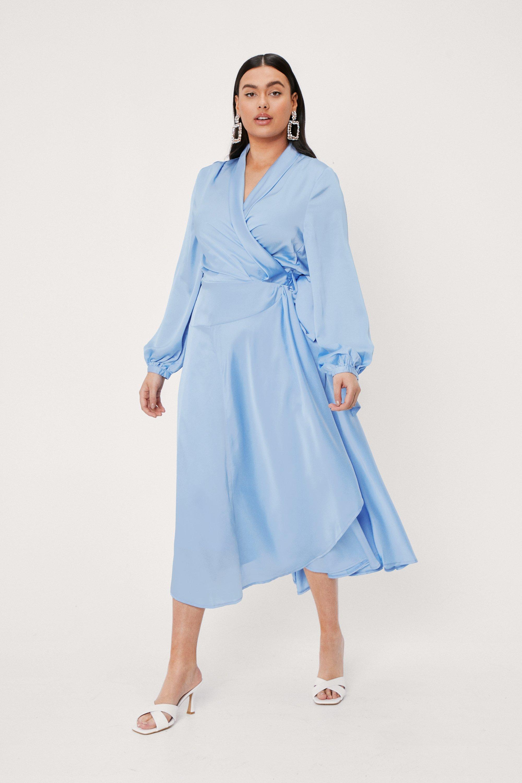 70s Prom, Formal, Evening, Party Dresses Womens Plus Size Satin Wrap Midi Dress - Blue - 16 $40.80 AT vintagedancer.com