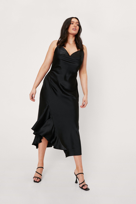 Plus Size Retro Dresses 50s, 60s ,70s, 80s, 90s Womens Plus Size Satin Cowl Neck Ruffle Midi Dress - Black - 16 $38.50 AT vintagedancer.com