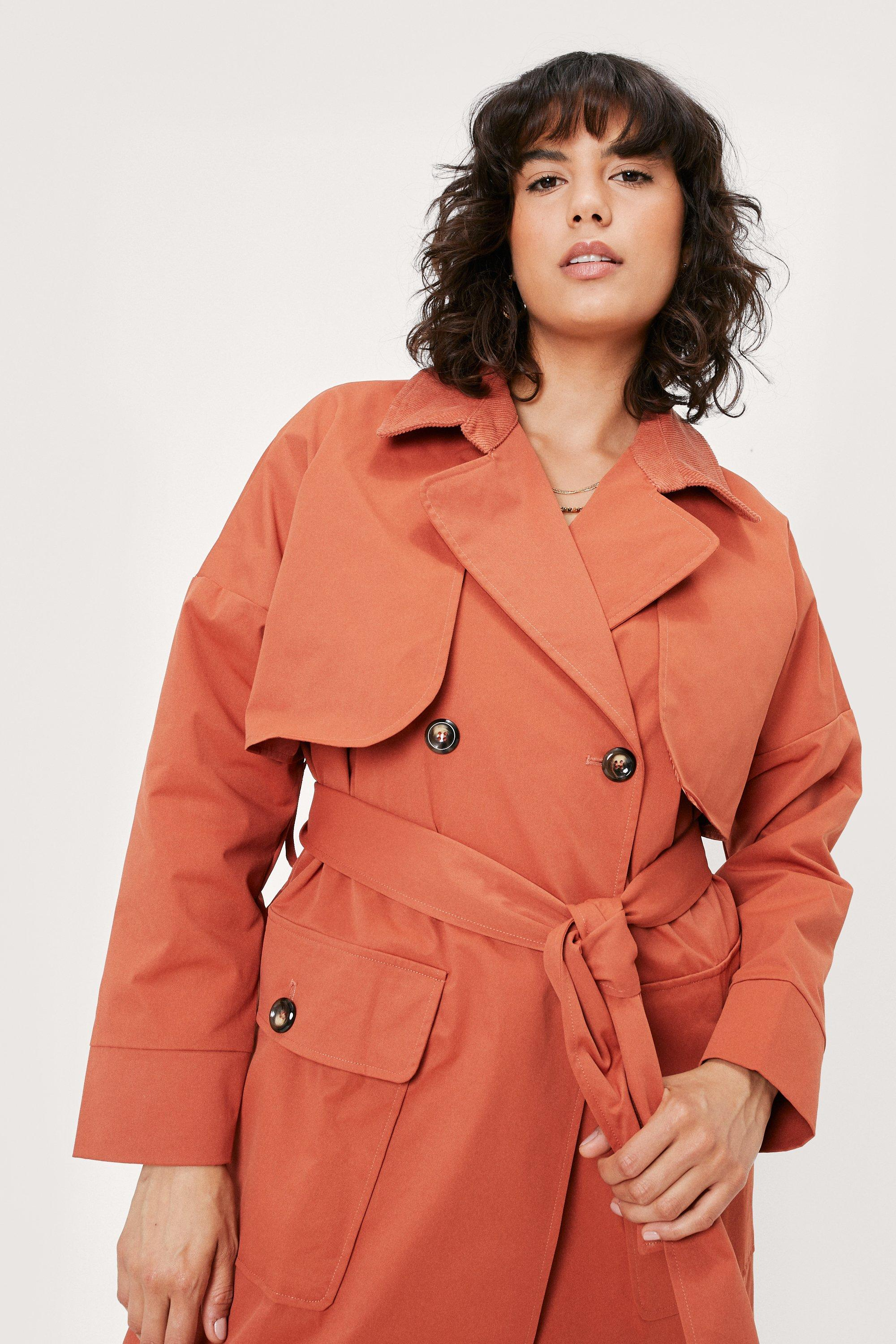 70s Jackets, Furs, Vests, Ponchos Womens Maxi Corduroy Collar Belted Trench Coat - Rust - 10 $68.00 AT vintagedancer.com