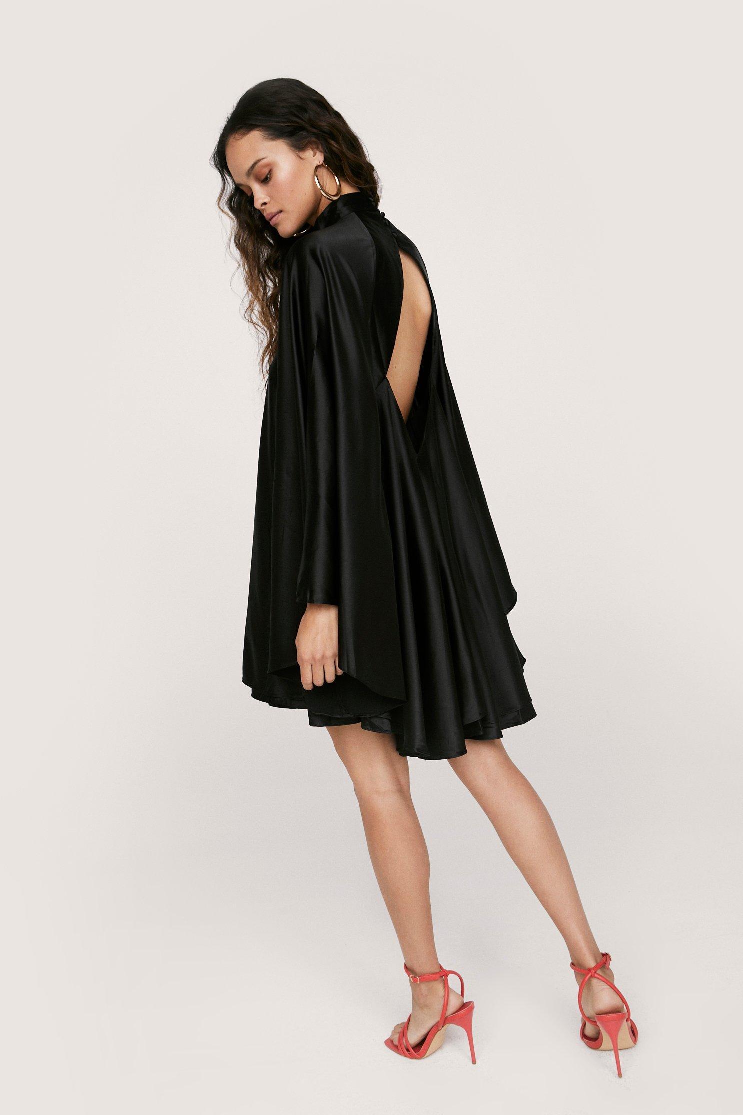 70s Prom, Formal, Evening, Party Dresses Womens Open Back High Neck Satin Dress - Black - XS $34.00 AT vintagedancer.com