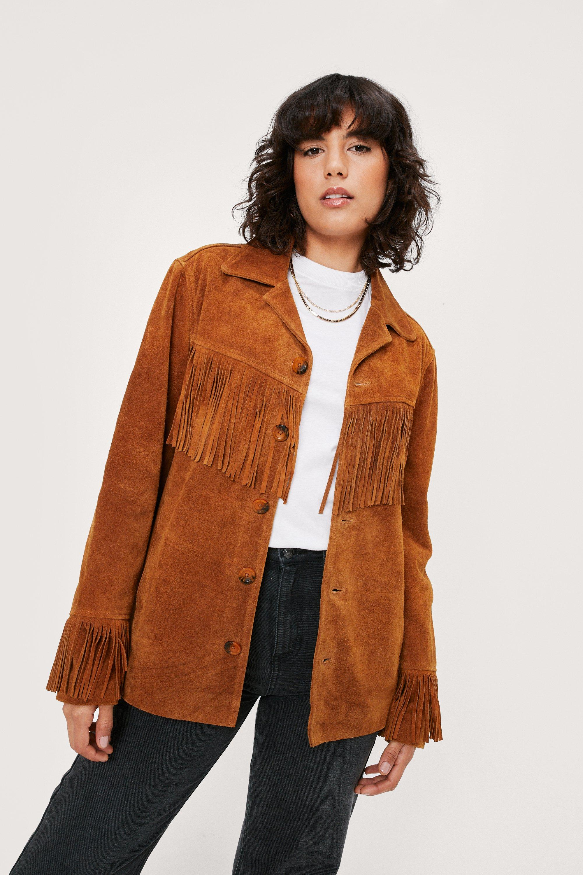70s Clothes | Hippie Clothes & Outfits Womens Real Suede Oversized Fringe Jacket - Tan - 10 $153.00 AT vintagedancer.com