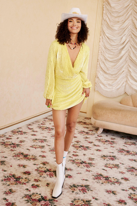 70s Clothes | Hippie Clothes & Outfits Womens Sequin Detail Wrap Mini Dress - Lemon - 10 $102.00 AT vintagedancer.com