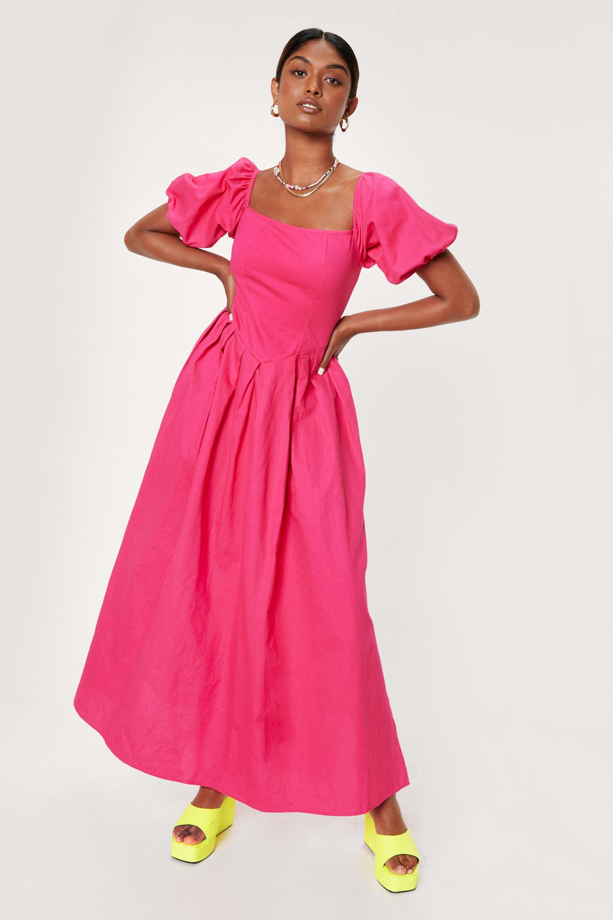 1980s Clothing, Fashion | 80s Style Clothes Womens Puff Sleeve Drop Waist Maxi Dress - Hot Pink - 8 $34.00 AT vintagedancer.com