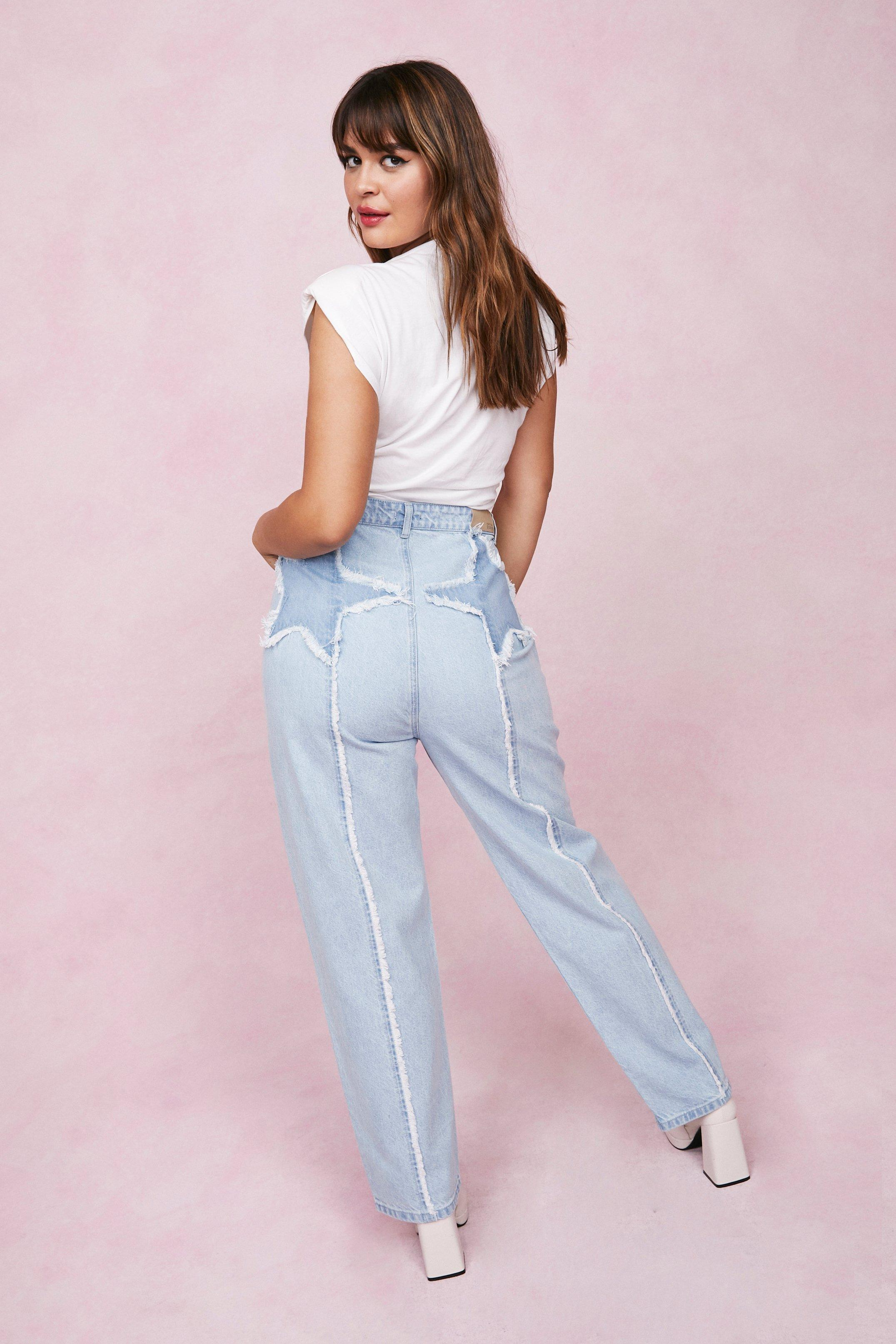 80s Jeans, Pants, Leggings | 90s Jeans Womens Plus Size Star Design High Waisted Jeans - Blue - 16 $71.00 AT vintagedancer.com