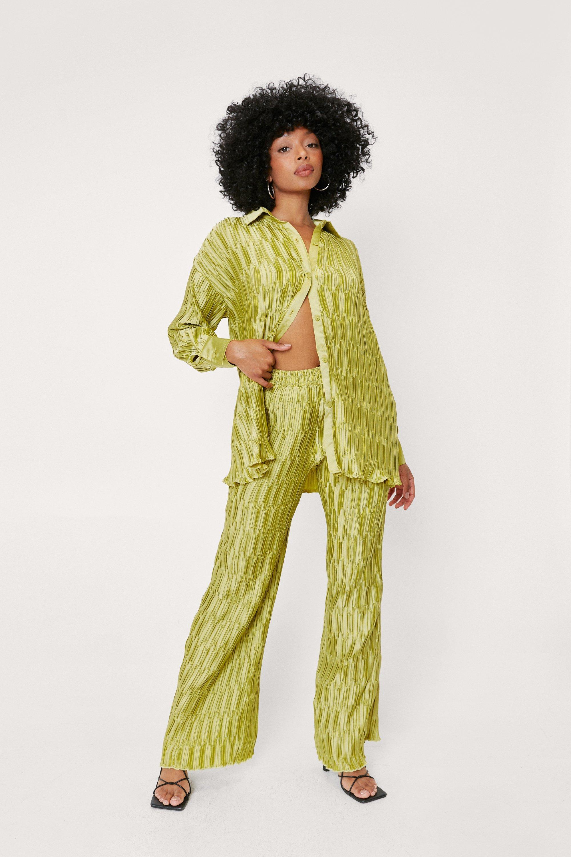 60s Pants, Jeans, Hippie, Flares, Jumpsuits Womens Petite Geo Plisse Wide Leg Co-ord - Lime - 8 $24.00 AT vintagedancer.com