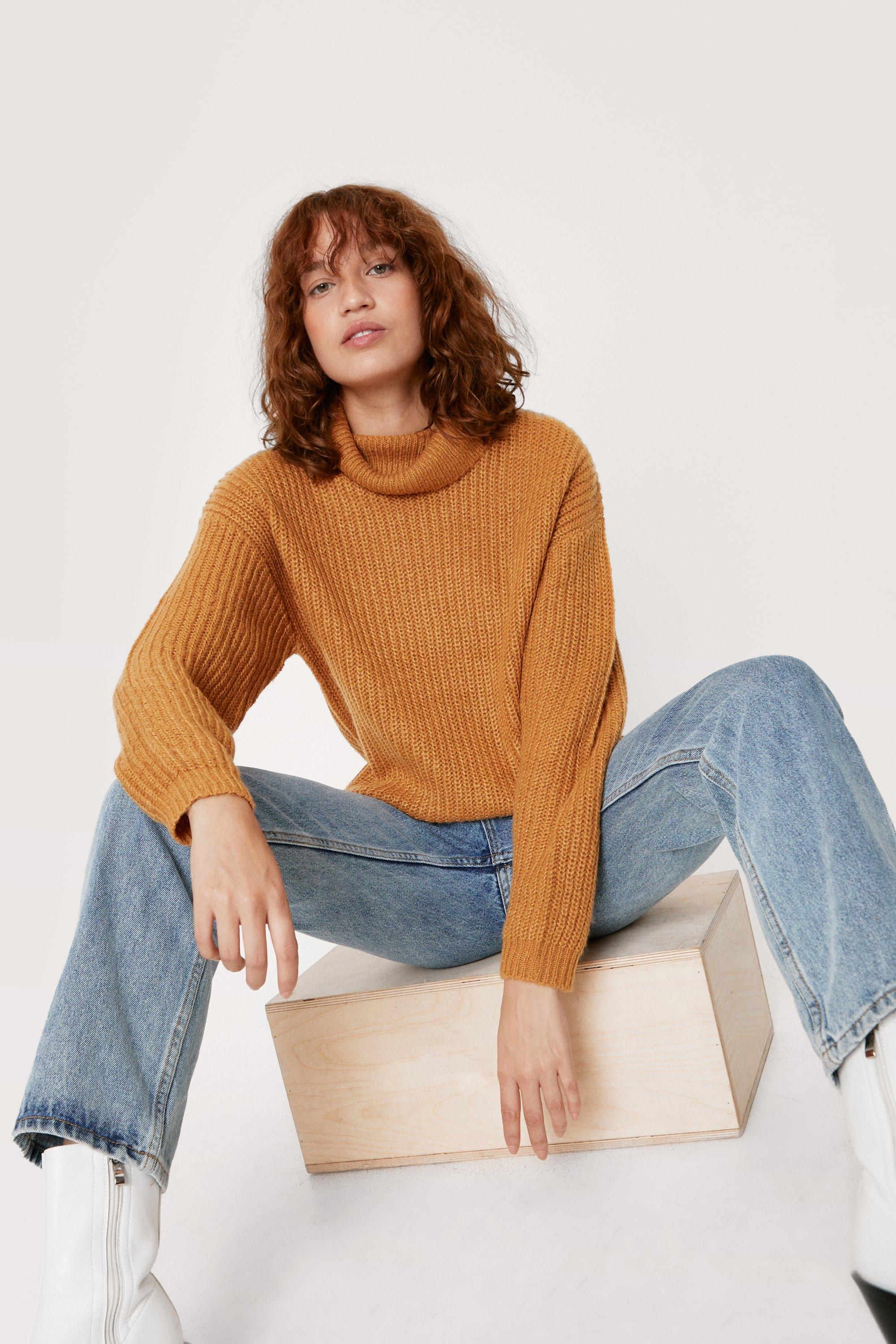 1980s Clothing, Fashion | 80s Style Clothes Womens Turtleneck Soft Knit Long Sleeve Sweater - Camel - M $23.60 AT vintagedancer.com