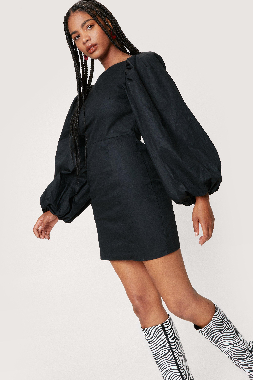 Vintage Style Dresses | Vintage Inspired Dresses Womens Puff Sleeve Backless Bodycon Mini Dress - Black - 8 $30.80 AT vintagedancer.com