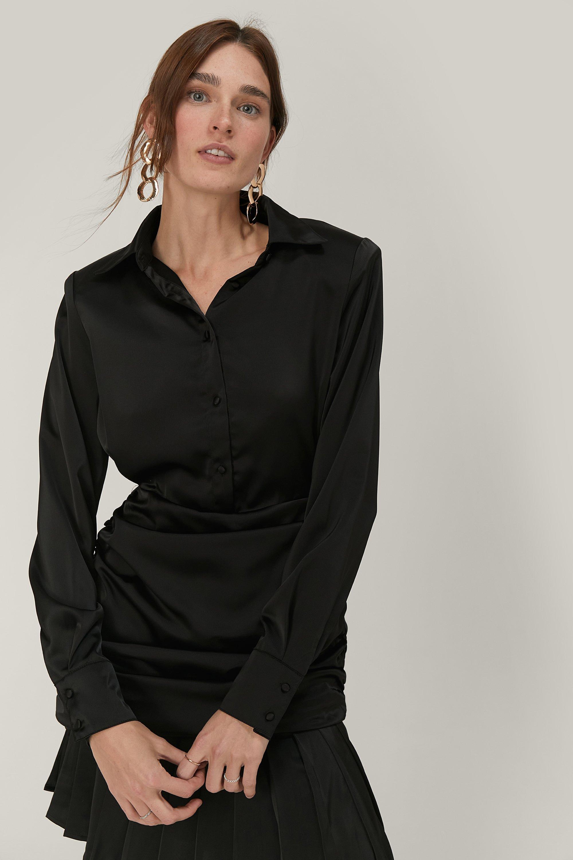 80s Prom Dresses – Party, Cocktail, Bridesmaid, Formal Womens Statement Shoulder Satin Mini Shirt Dress - Black - 10 $32.80 AT vintagedancer.com