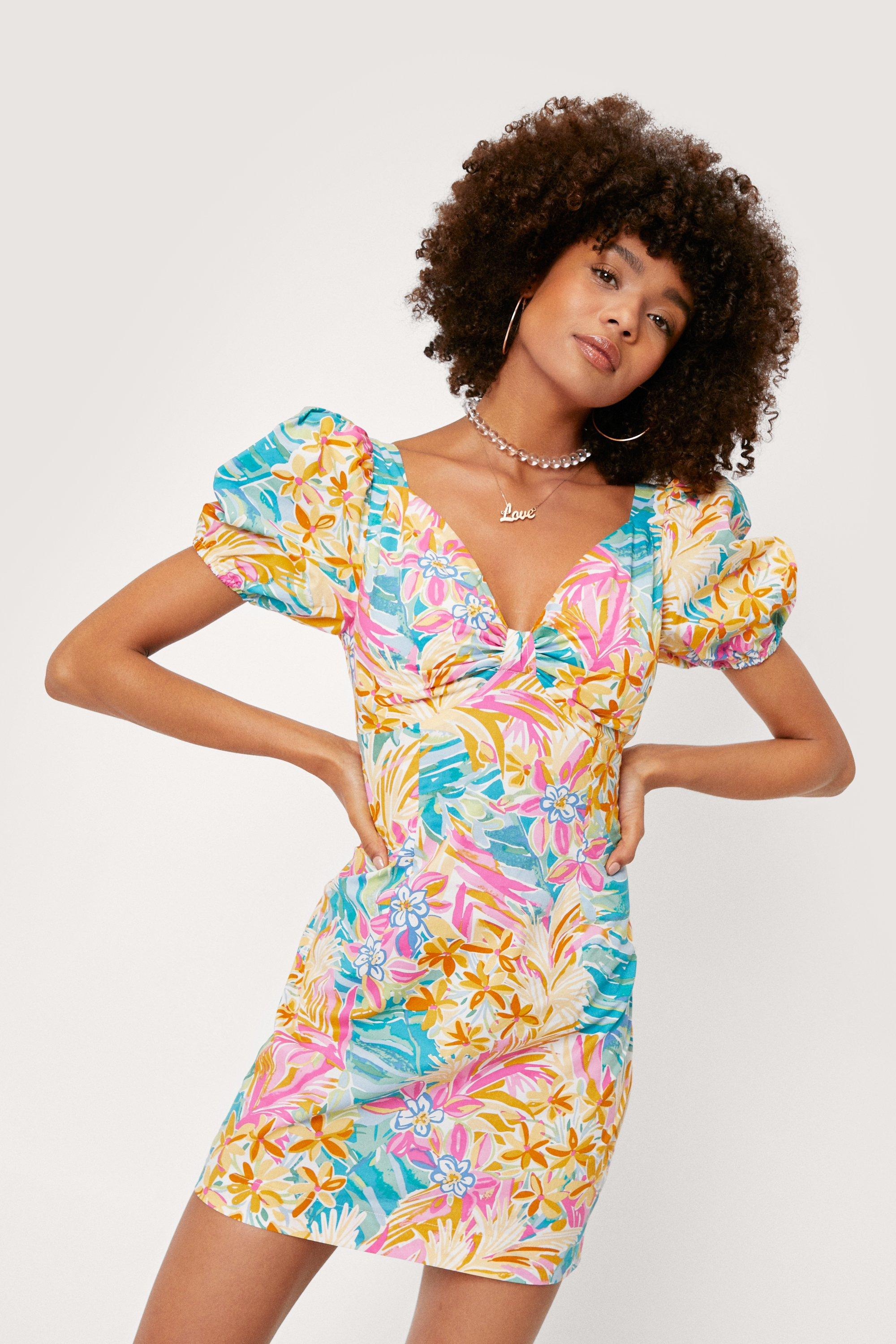 1980s Clothing, Fashion | 80s Style Clothes Womens Floral Knot Front Puff Sleeve Mini Dress - Yellow - 10 $19.00 AT vintagedancer.com