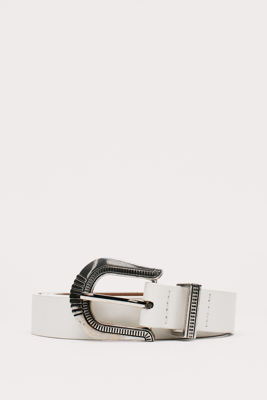 Vintage Wide Belts, Cinch Belts, Skinny 50s Belts Womens Faux Leather Retro Engraved Western Belt - White - One Size $17.00 AT vintagedancer.com