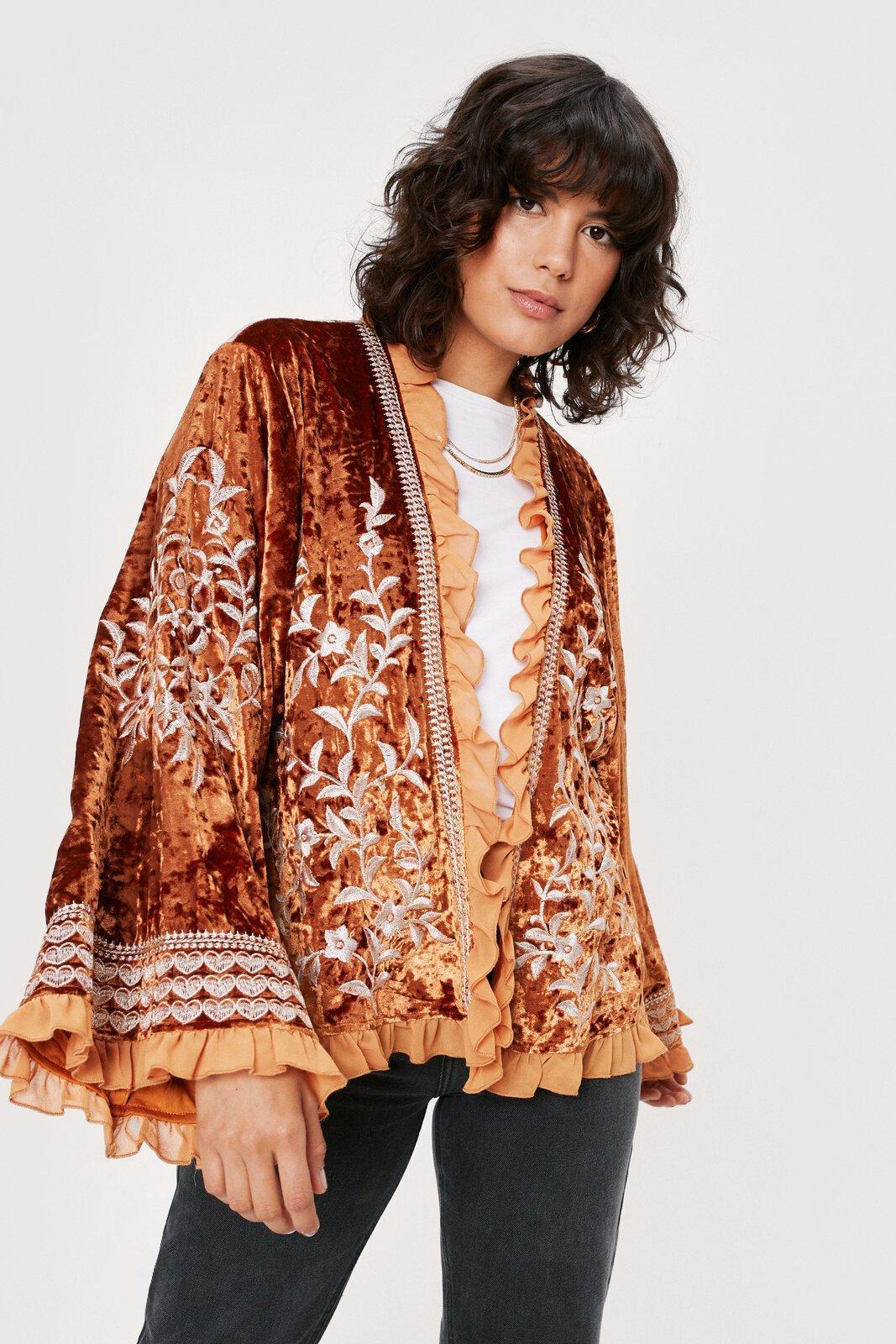 70s Jackets, Furs, Vests, Ponchos Womens Velvet Embroidered Kimono - Burnt Orange - 10 $59.50 AT vintagedancer.com