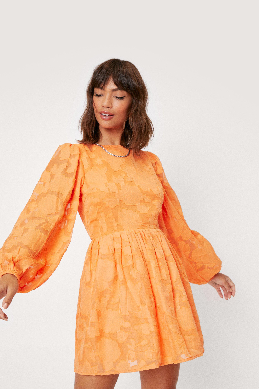 1960s Cocktail, Party, Prom, Evening Dresses Womens Burnout Velvet Puff Sleeve Mini Dress - Orange - 10 $27.20 AT vintagedancer.com