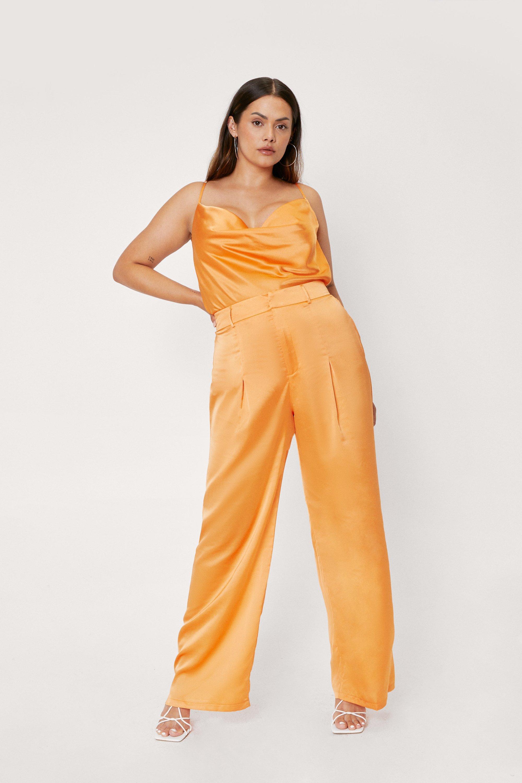 60s Pants, Jeans, Hippie, Flares, Jumpsuits Womens Plus Size Satin Wide Leg Pants - Orange - 16 $30.00 AT vintagedancer.com