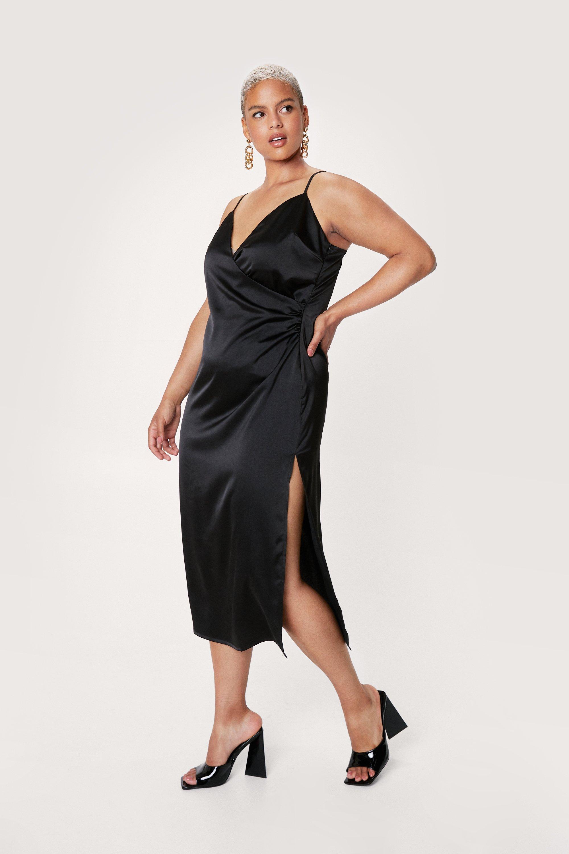 Plus Size Retro Dresses 50s, 60s ,70s, 80s, 90s Womens Plus Size Wrap Strappy Satin Midi Dress - Black - 16 $71.00 AT vintagedancer.com
