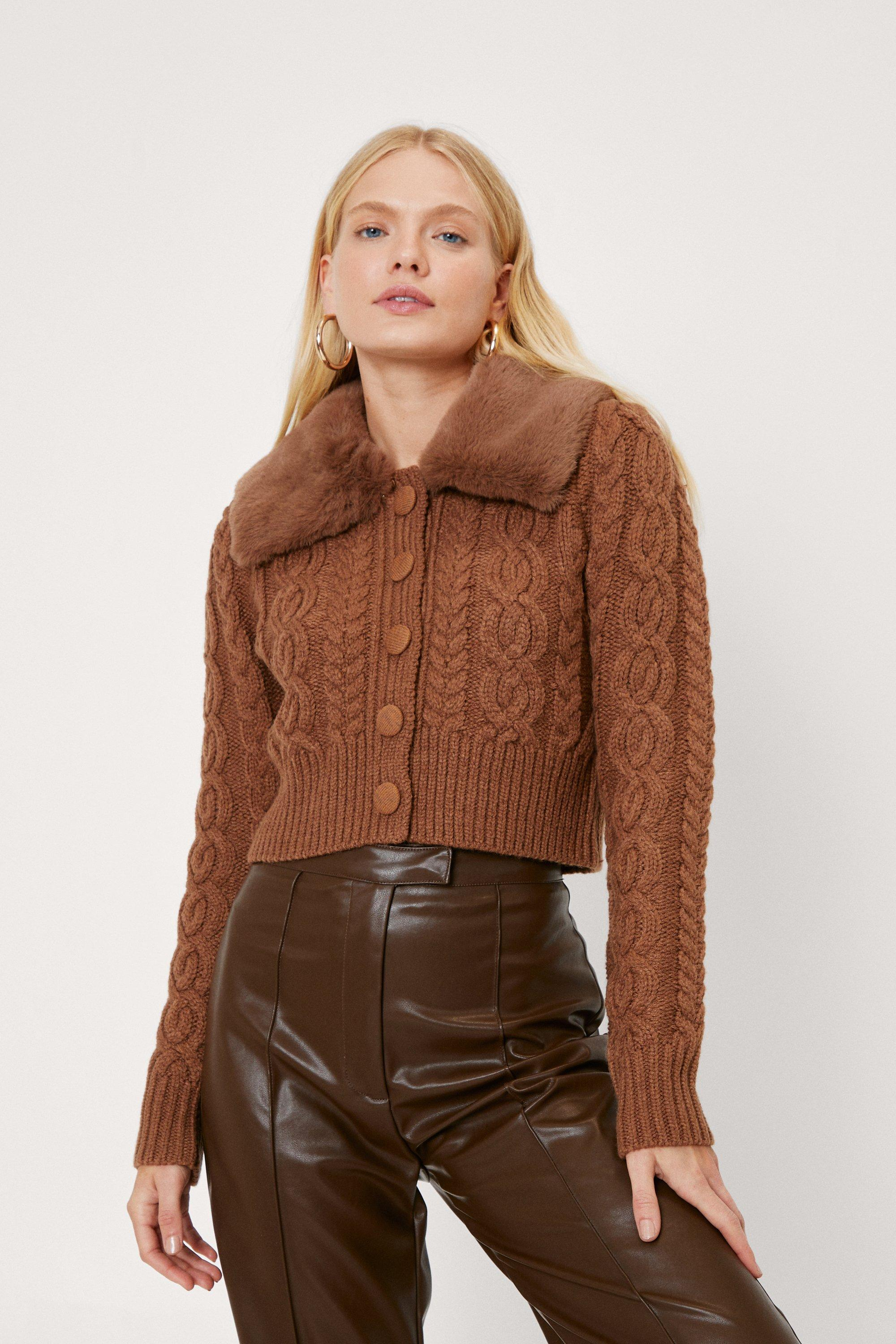 Vintage Sweaters, Retro Sweaters & Cardigan Womens Faux Fur Cable Knit Button Cardigan - Chocolate - M $27.20 AT vintagedancer.com