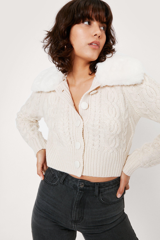 1940s Teenage Fashion: Girls Womens Faux Fur Cable Knit Button Cardigan - Cream - M $27.20 AT vintagedancer.com