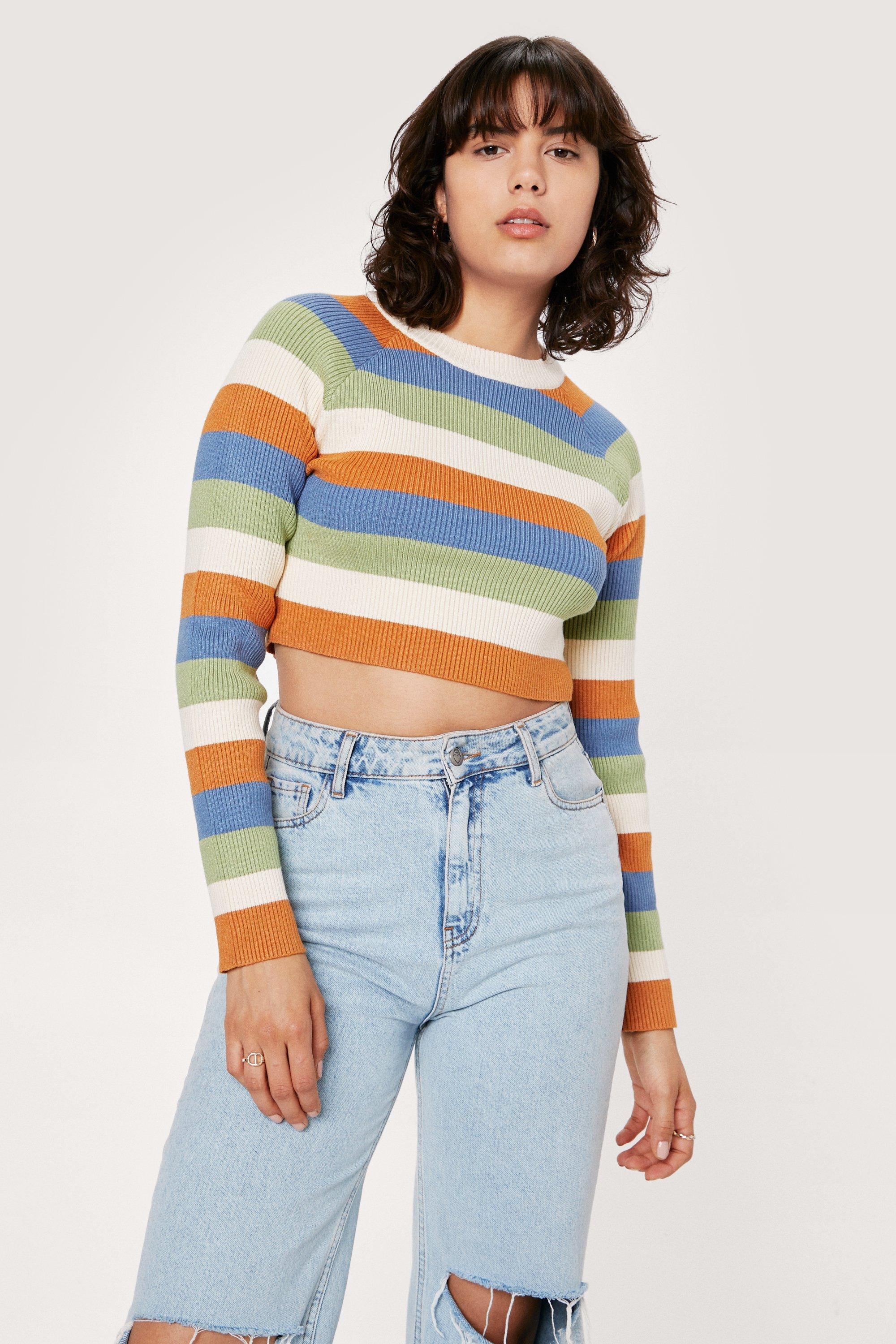 70s Clothes | Hippie Clothes & Outfits Womens Striped Colour Block Knitted Long Sleeve Top - Stone - 12 $19.20 AT vintagedancer.com