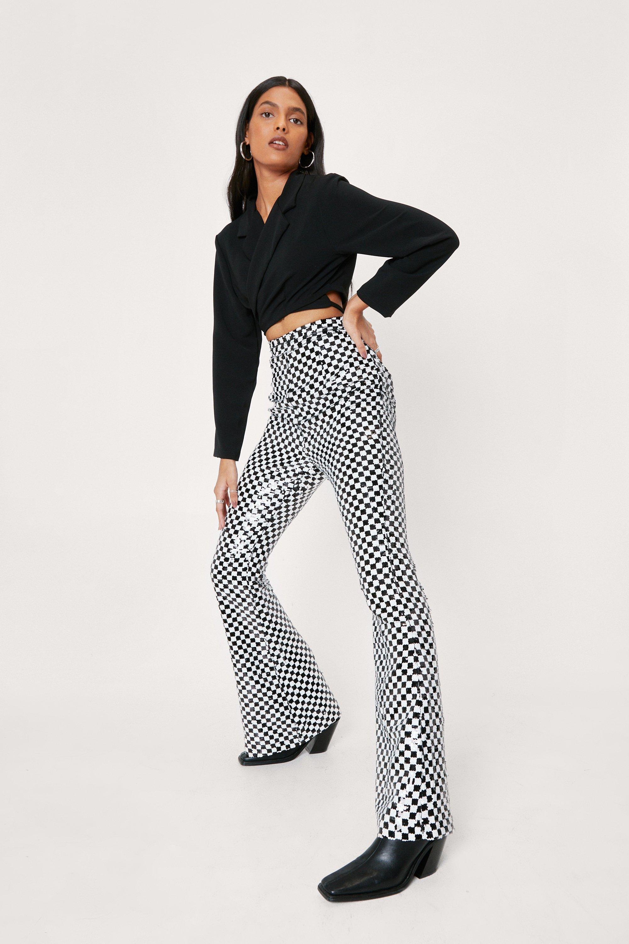 70s Clothes | Hippie Clothes & Outfits Womens Sequin Checkerboard Design Flare Pants - Mono - 10 $51.00 AT vintagedancer.com