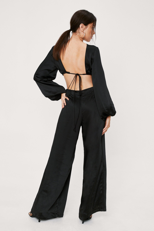 70s Clothes | Hippie Clothes & Outfits Womens Satin Cut Out Back Long Sleeve Jumpsuit - Black - 10 $94.00 AT vintagedancer.com
