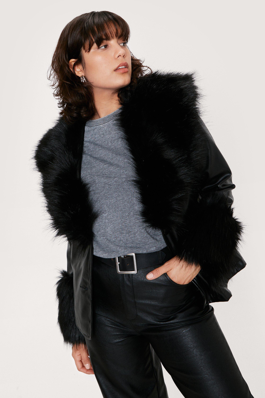 70s Jackets, Furs, Vests, Ponchos Womens Faux Fur Trimmed Faux Leather Blazer - Black - 8 $67.60 AT vintagedancer.com